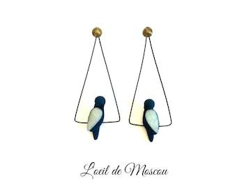 Designer earrings Dark Blue Bird on wire