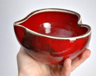 Heart pottery bowl, heart shaped ceramic bowl. heart bowl, RED ceramic heart bowl, wedding bowl