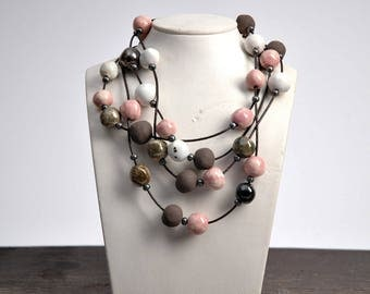Long beaded necklace, multi strand beaded necklace, handmade beads, ceramic beads