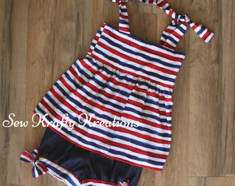 Girl's 2 Piece Set - 4th of July Inspired - RWB Stripes with Cotton Denim Shorts - Adjustable Tie Shoulders