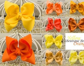 Yellow or Orange Boutique Hair Bow, Yellow Hair Bows, Orange Hair Bows