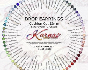 12mm CUSHION CUT Drops *Design Your Own Leverback Earrings Swarovski Crystal *Choose Your Finish *Karnas Design Studio™ *Free Shipping*