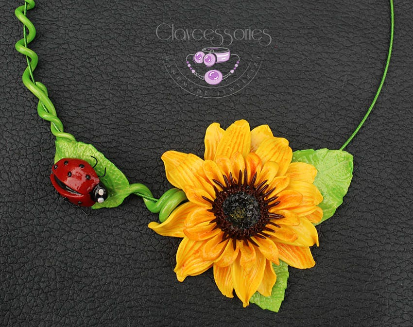 Sunflower necklace / Ladybird necklace / Floral necklace / Statement necklace / Choker necklace / Flowers necklace / Polymer clay necklace
