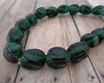 14 Dark Green Glass Beads 14-10mm Dark Green Translucent Oval Tube Shaped Faceted Green Glass Beads Clear Green Glass Beads Faceted #G1050