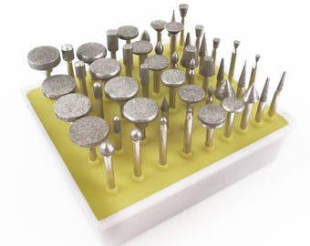 50pc Diamond Burr Bit Set for Dremel Rotary Tool 80 Grit
