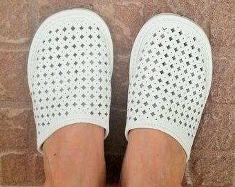 SALE of REST!!! Leather women's slippers White  women sandals Women leather shoes Only one pair EU 38