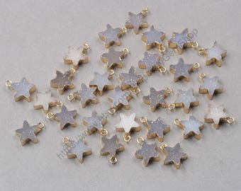 12mm Star Agate Druzy Pendants -- With Electroplated Gold Edge Druzzy Drusy Geode Dainty Charms Supplies Handmade YHA-316