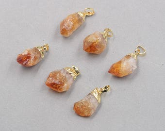 Raw Citrine Pendant -- With Electroplated Gold Edge Charms Wholesale Supplies CQA-089,YHA