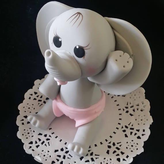 Elephant Cake Topper, Pink Baby Elephant, Baby Elephant, Blue Gray Elephant, Safari Baby Shower