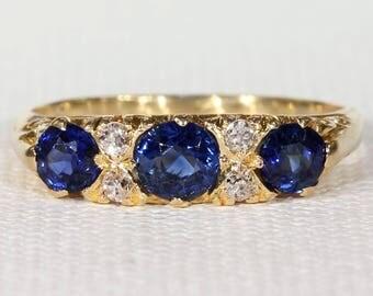 Antique Sapphire Diamond Ring Edwardian Seven Stone 18k Gold