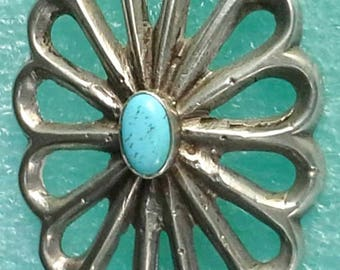 Navajo pin/brooch open work sand cast silver and turquoise floral design