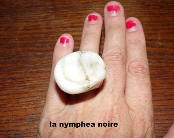 large ring in trumpet translucent polymer clay and leaves gold