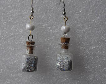 Earrings in glass vials of the fairies, 2.5 cm
