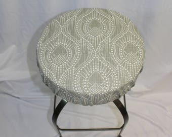 fitted elasticized round bar stool slipcover vanity stool cushion cover or counter stool cover in - Bar Stool Cushions