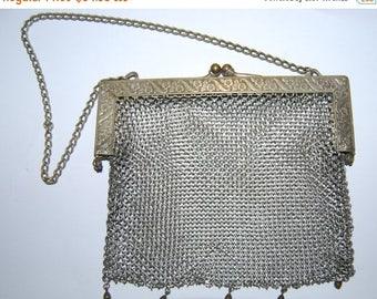 SALE Art Deco German Silver Mesh Chain Purse Bag Vintage