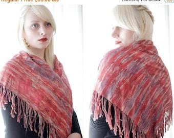 20% OFF SALE Vintage flamenco fringe scarf wrap shawl terra-cotta deep red pink lavender purple