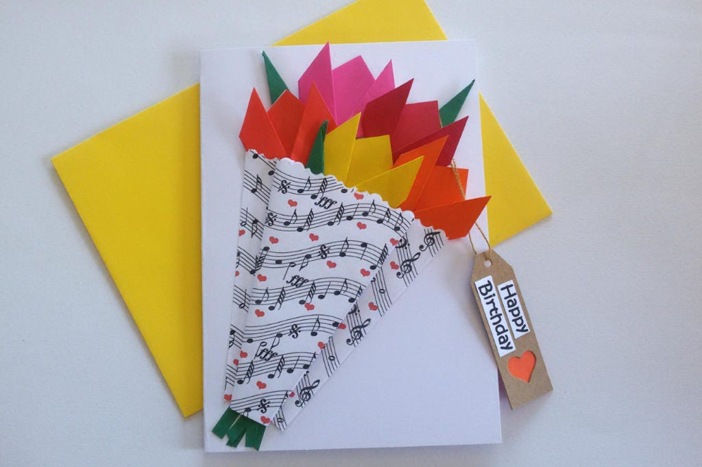 Happy Birthday Card Celebrate Origami Card Music Lovers Card