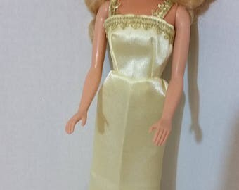 "B 093 Handmade Long Yellow Satin Dress. for Barbie and other For 11 1/2"" and 12"" fashion dolls,"