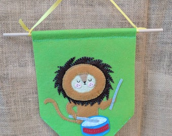Childrens Nursery Wall Banner with Lion Playing Drum