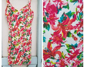 1990s Mini Sundress Rayon Floral Babydoll Dress Size X Small // Small