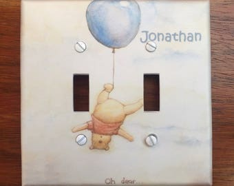 Winnie the Pooh classic Light switch cover baby nursery // Oh Dear // blue balloon upside down // SAME DAY SHIPPING**