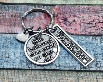 Sobriety Gift, She Believed She Could, AA key chain, NA Key Ring, Addiction Recovery Key Chain, Sobriety Date Key ring, Sobriety Jewelry