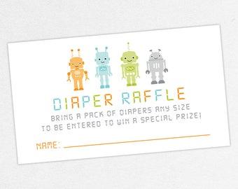 INSTANT DOWNLOAD Diaper Raffle Ticket, Diaper Raffle Card, Baby Shower Diaper Raffle, Diaper Raffle PDF, Diy, Boy Shower, Robots, Baby Bot