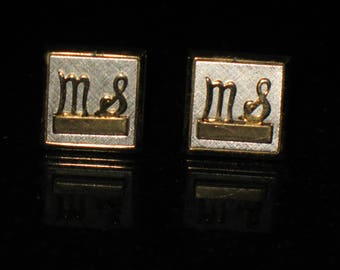 MS Personalized Initial Cuff Links Signed Swank