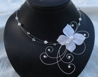 Bridal necklace, wedding necklace, glass beads and ivory or white silk flower