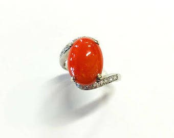 Vintage Large Coral and Diamond Ring