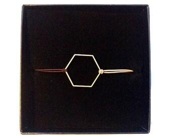 On Sale Geometric brass hexagon bracelet with elastic coloured cord