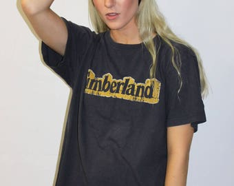 SALE – 1990's Timberland Tee Shirt / Vintage Timberland Boots Graphic Design T - Shirt Hip Hop Retro Throwback 90s Clothing FREE SHIPPING
