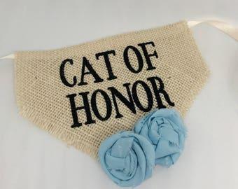 Cat Collar Wedding Accessories Bandana Cat of Honor Light Blue Flowers Wedding Collar Girl Flowers  Engagement Save the Date