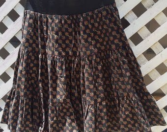 Vintage full ruffled tier Skirt 1980s