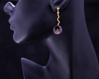 Circle Drop Copper Earrings, Rainbow Copper Earrings, Fire Painted, Boho Chic, Bohemian Earrings, Handmade, Contemporary