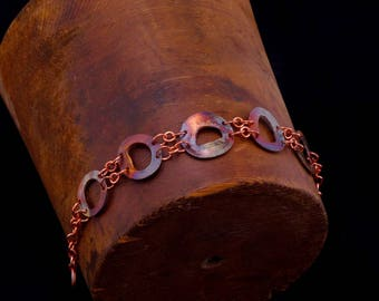 Copper Bracelet, Contemporary, Abstract Bracelet, Rainbow Heat Patina, Fire Painted, Boho Chic, Bohemian, Bracelet, Contemporary, Artisan