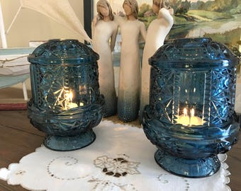 Set of 2 Fairy Lamps Colorado Blue Candle Holders Indiana Glass Stars and Bars 1970's