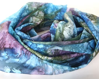 Luxury scarves - Fashion scarves - Hand painted silk scarves - Silk scarves - Summer scarves -  Natural silk scarf - Blue scarves