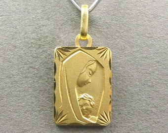 French, Antique Religious Pendant. Saint Virgin Mary and Jesus, Christ Child. Gold plating medal. By Lasserre. 170729 1 K