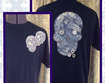 Gothic Steampunk Skulls T Shirt // Custom Printed // Tie Dye // Cogs and Gears // Sugar Skulls // Unique One only // Art to wear