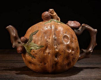 """Exquisite Chinese Zisha Pottery Clay """"Walnut"""" Teapot Signed JiangRong DS001"""