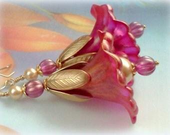 Large Lily Earrings, Fuchsia Earrings, Flower Earrings, Victorian Earrings, Hand Painted Earrings, Swarovski Pearls, Pink Flower Earrings