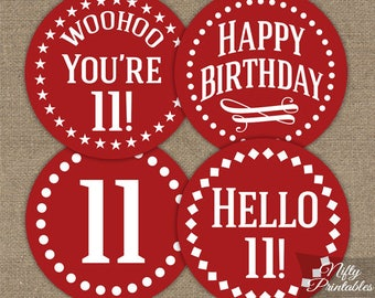 Red 11th Birthday Cupcake Toppers - Red White 11th Birthday Toppers - Printable 11 Years Old Party Decorations - 11th Birthday Decor IMPR