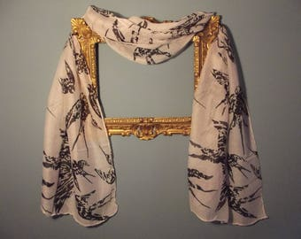Painted Bird print Scarf
