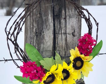 Sunflower and Pink Flower Barbwire Wreath