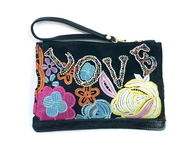 Featured listing image: Love Clutch // Bright floral beaded wristlet // Black leather clutch purse