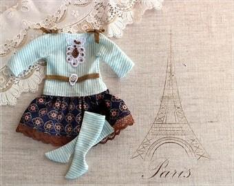 Blythe Dress Blue Dress and Socks Blythe Clothes Doll Clothing for Blythe/Pullip - OOAK Doll Clothes DollyCreation