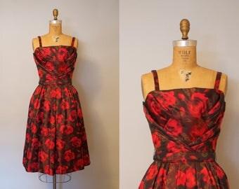 Suzy Perette Rose Briar Dress / 1950s Party Dress Dress w/ Red Roses Print