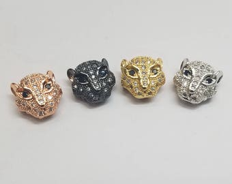 Pave CZ Medium Jaguar or Panther Bead, 11mm, 1 Piece, Pave Setting