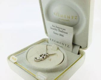 Vintage Krementz .925 Sterling Silver Necklace with Initial ' F ' Pendant